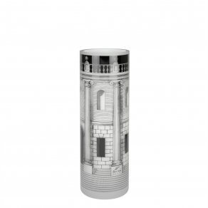 Fornasetti - Glass Vase Casa con Colonne black/white - váza