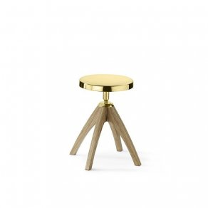 Ghidini 1961 - Leporello Junior Light Durmast - Paolo Rizzatto - small stool - Brass polished