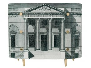 Fornasetti - Curved chest of drawers Palladiana black/white - komoda