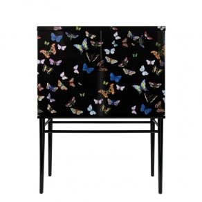 Fornasetti - Raised small sideboard Farfalle colour/black - komoda