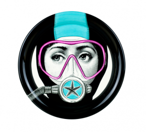 Fornasetti - Tray ø40 Silviasub light blue mask pink - tác