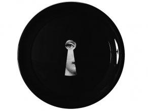 Fornasetti - Tray ø40 Serratura black/white on black - tác