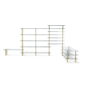 Ghidini 1961 - Legs Bookshelves angular - Paolo Rizzatto - knihovna - Brass polished