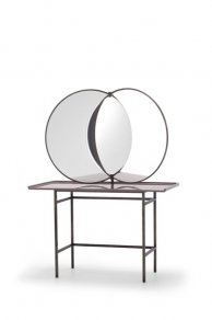 Sé - Olympia Dressing Table Glossy Chic Pink + Acid Iron Legs